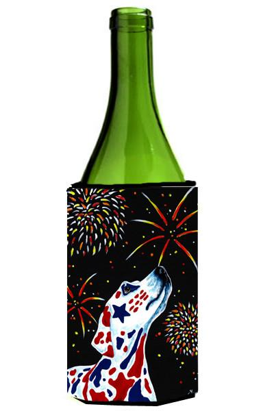 For our Heros Fireworks Patriotic Dalmatian Wine Bottle Beverage Insulator Hugger AMB1451LITERK by Caroline's Treasures
