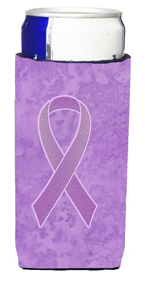 Lavender Ribbon for All Cancer Awareness Ultra Beverage Insulators for slim cans AN1200MUK by Caroline's Treasures