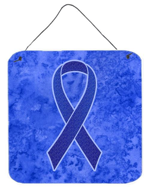 Dark Blue Ribbon for Colon Cancer Awareness Wall or Door Hanging Prints AN1202DS66 by Caroline's Treasures