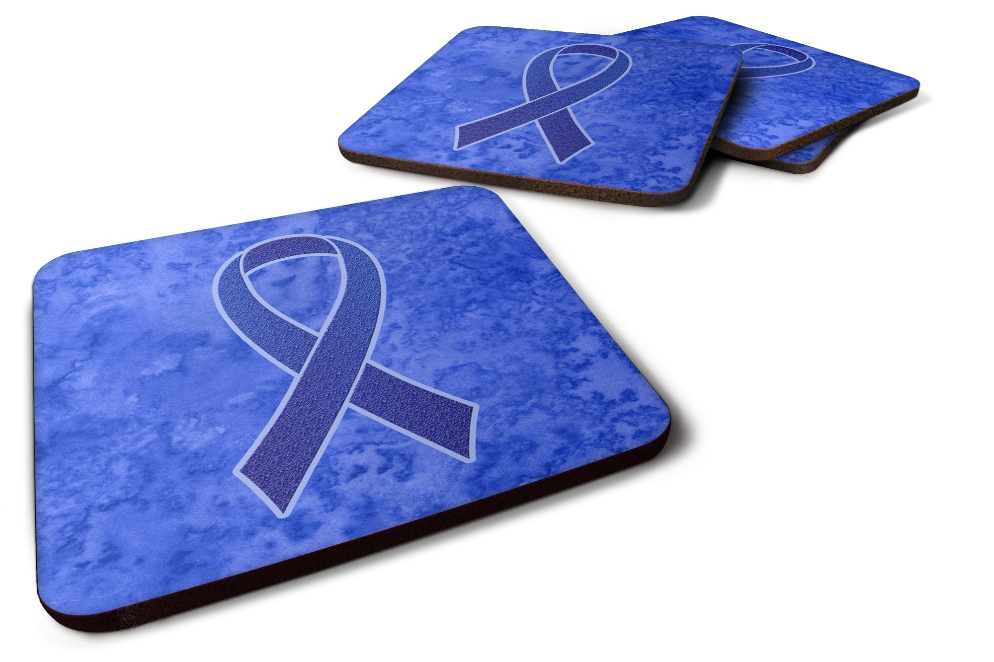 Set of 4 Dark Blue Ribbon for Colon Cancer Awareness Foam Coasters AN1202FC by Caroline's Treasures