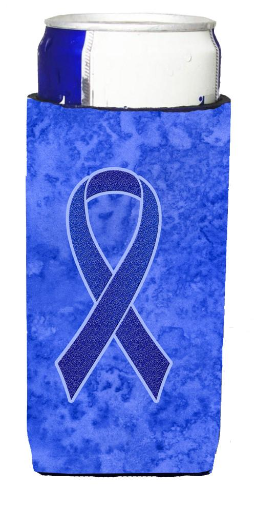 Dark Blue Ribbon for Colon Cancer Awareness Ultra Beverage Insulators for slim cans AN1202MUK by Caroline's Treasures