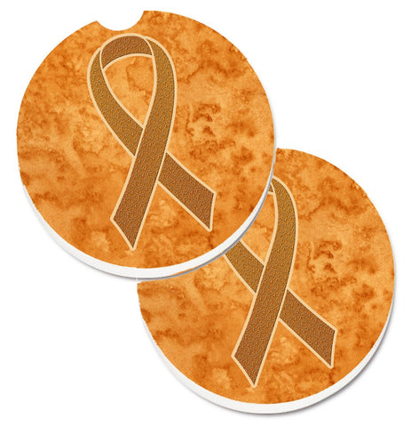 Buy this Orange Ribbon for Leukemia Awareness Set of 2 Cup Holder Car Coasters AN1204CARC