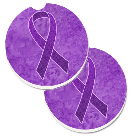 Buy this Purple Ribbon for Pancreatic and Leiomyosarcoma Cancer Awareness Set of 2 Cup Holder Car Coasters AN1207CARC