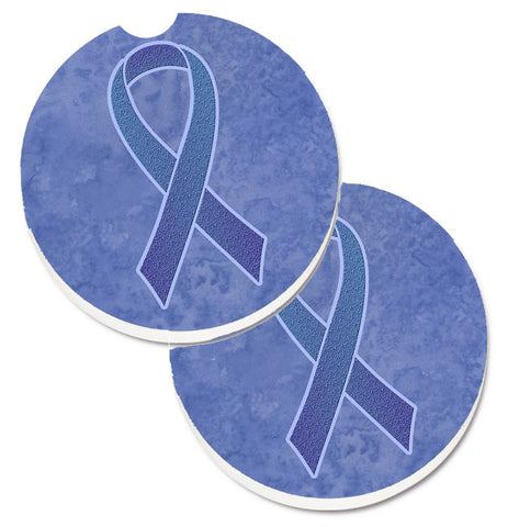 Buy this Periwinkle Blue Ribbon for Esophageal and Stomach Cancer Awareness Set of 2 Cup Holder Car Coasters AN1208CARC