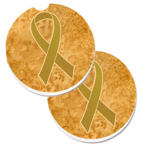 Buy this Gold Ribbon for Childhood Cancers Awareness Set of 2 Cup Holder Car Coasters AN1209CARC