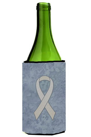 Clear Ribbon for Lung Cancer Awareness Wine Bottle Beverage Insulator Hugger AN1210LITERK - the-store.com