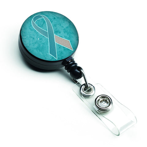 Buy this Teal and White Ribbon for Cervical Cancer Awareness Retractable Badge Reel AN1215BR