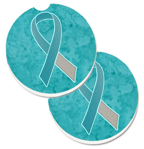 Buy this Teal and White Ribbon for Cervical Cancer Awareness Set of 2 Cup Holder Car Coasters AN1215CARC