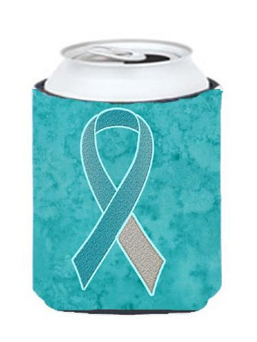 Buy this Teal and White Ribbon for Cervical Cancer Awareness Can or Bottle Hugger AN1215CC
