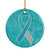 Teal and White Ribbon for Cervical Cancer Awareness Ceramic Ornament AN1215CO1 by Caroline's Treasures
