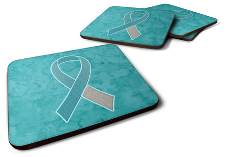 Buy this Set of 4 Teal and White Ribbon for Cervical Cancer Awareness Foam Coasters AN1215FC