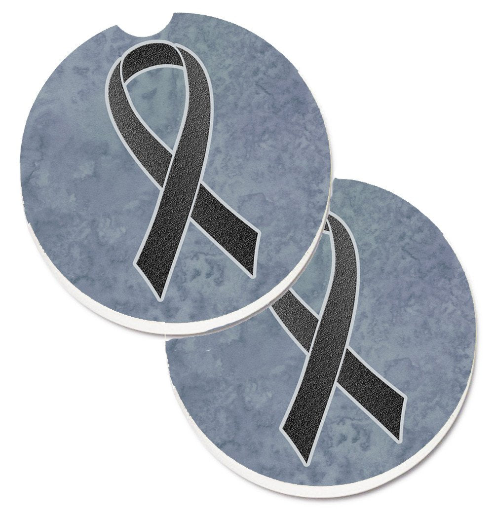 Black Ribbon for Melanoma Cancer Awareness Set of 2 Cup Holder Car Coasters AN1216CARC by Caroline's Treasures