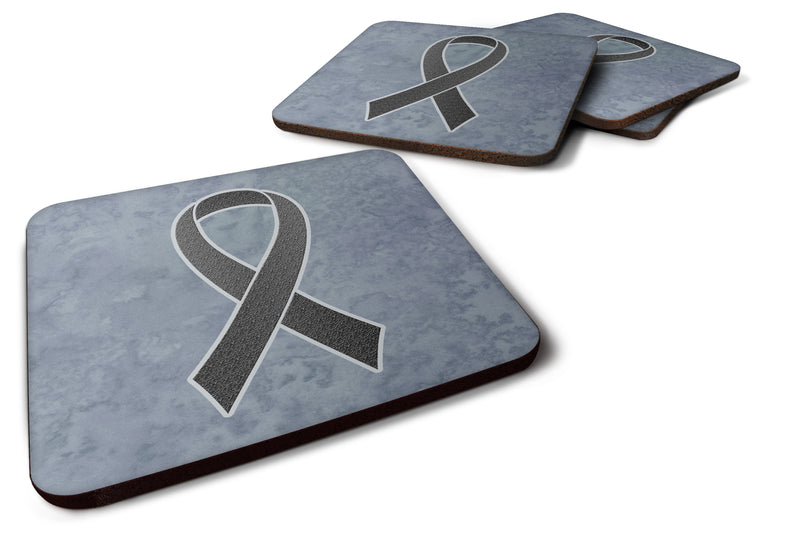Buy this Set of 4 Black Ribbon for Melanoma Cancer Awareness Foam Coasters AN1216FC