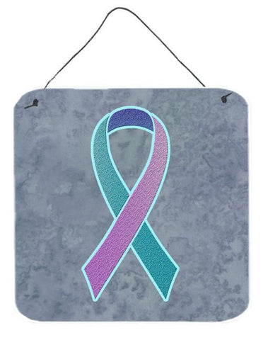 Buy this Teal, Pink and Blue Ribbon for Thyroid Cancer Awareness Wall or Door Hanging Prints AN1217DS66
