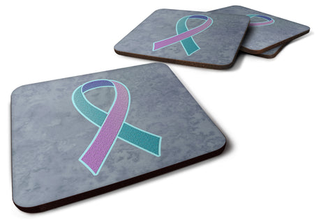 Buy this Set of 4 Teal, Pink and Blue Ribbon for Thyroid Cancer Awareness Foam Coasters AN1217FC