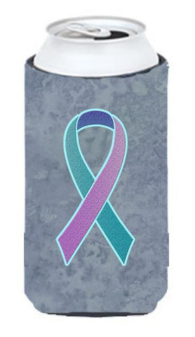 Buy this Teal, Pink and Blue Ribbon for Thyroid Cancer Awareness Tall Boy Beverage Insulator Hugger AN1217TBC