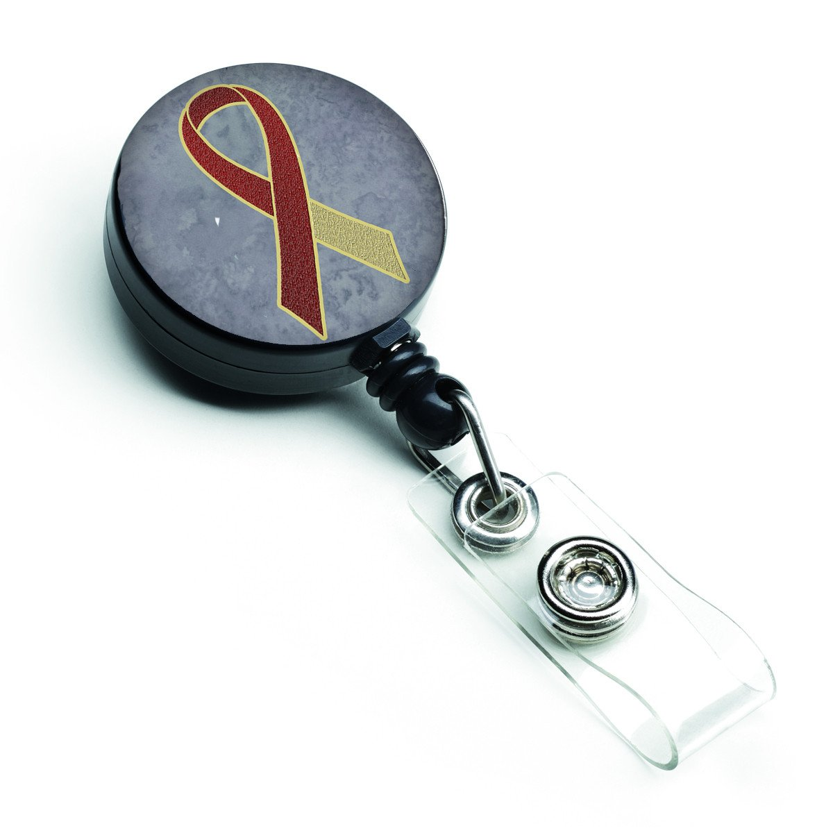 Buy this Burgundy and Ivory Ribbon for Head and Neck Cancer Awareness Retractable Badge Reel AN1218BR