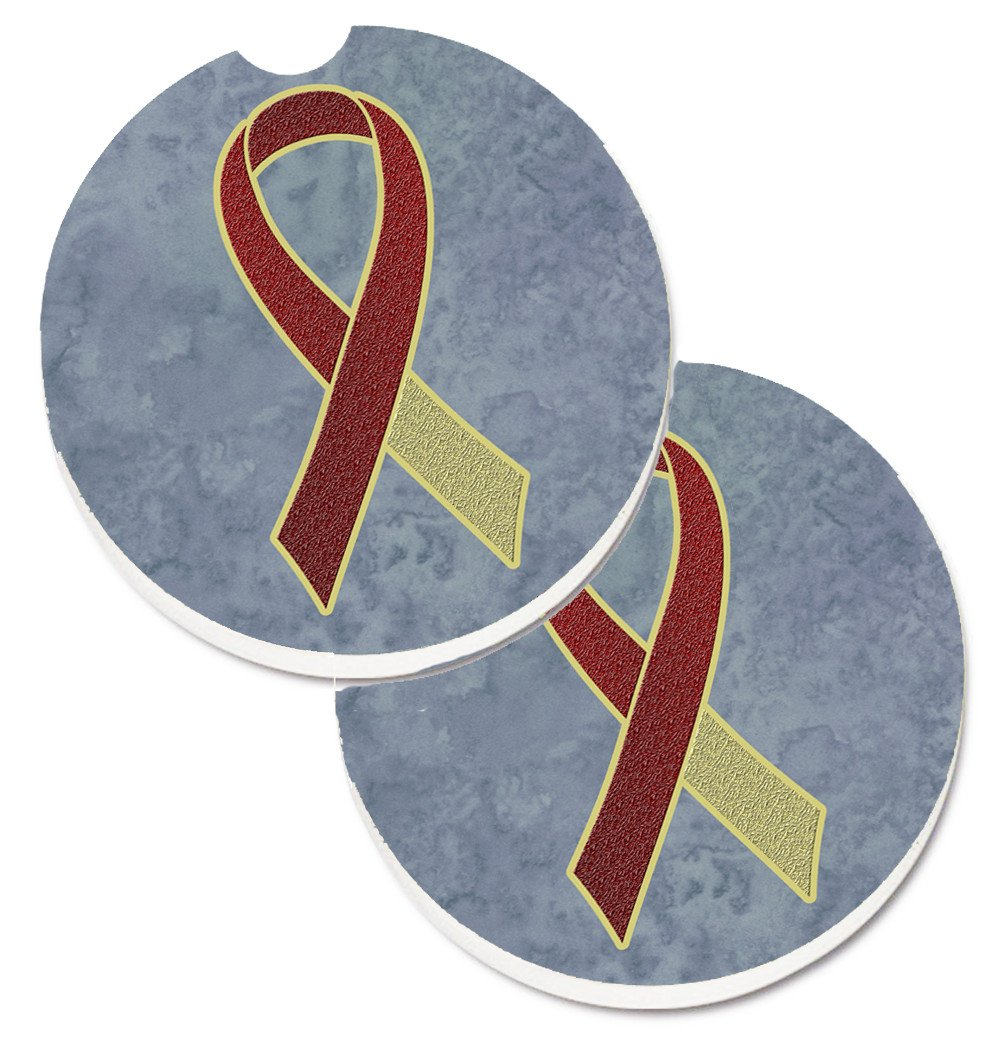 Burgundy and Ivory Ribbon for Head and Neck Cancer Awareness Set of 2 Cup Holder Car Coasters AN1218CARC by Caroline's Treasures