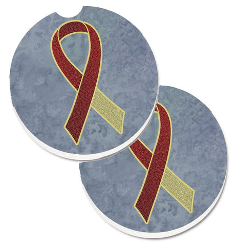 Buy this Burgundy and Ivory Ribbon for Head and Neck Cancer Awareness Set of 2 Cup Holder Car Coasters AN1218CARC