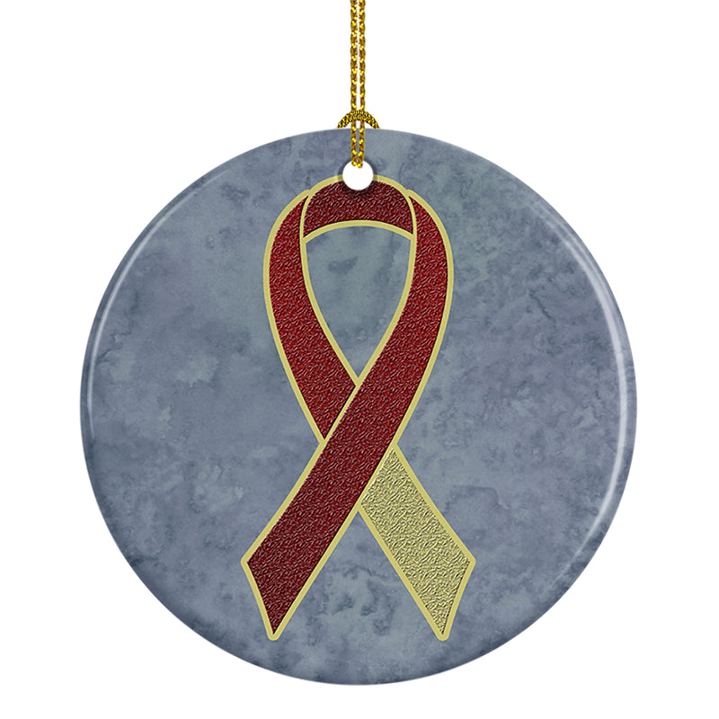 Buy this Burgundy and Ivory Ribbon for Head and Neck Cancer Awareness Ceramic Ornament AN1218CO1