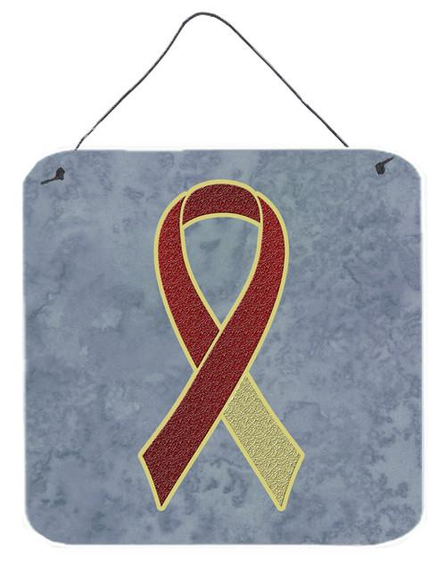 Burgundy and Ivory Ribbon for Head and Neck Cancer Awareness Wall or Door Hanging Prints AN1218DS66 by Caroline's Treasures