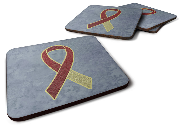 Buy this Set of 4 Burgundy and Ivory Ribbon for Head and Neck Cancer Awareness Foam Coasters AN1218FC