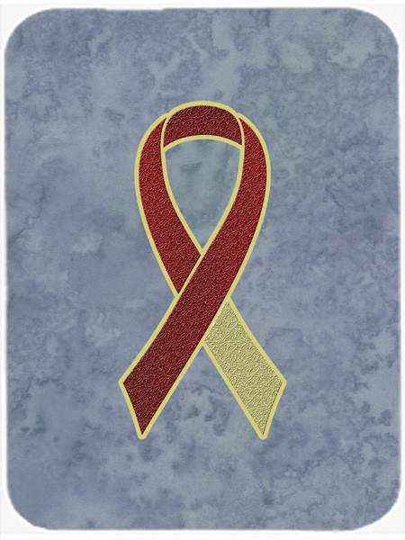 Burgundy and Ivory Ribbon for Head and Neck Cancer Awareness Glass Cutting Board Large Size AN1218LCB - the-store.com