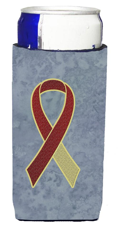 Burgundy and Ivory Ribbon for Head and Neck Cancer Awareness Ultra Beverage Insulators for slim cans AN1218MUK - the-store.com