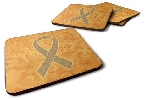 Buy this Set of 4 Peach Ribbon for Uterine Cancer Awareness Foam Coasters AN1219FC