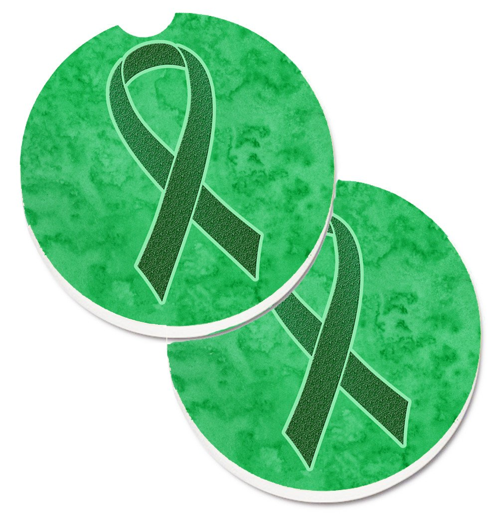 Kelly Green Ribbon for Kidney Cancer Awareness Set of 2 Cup Holder Car Coasters AN1220CARC by Caroline's Treasures