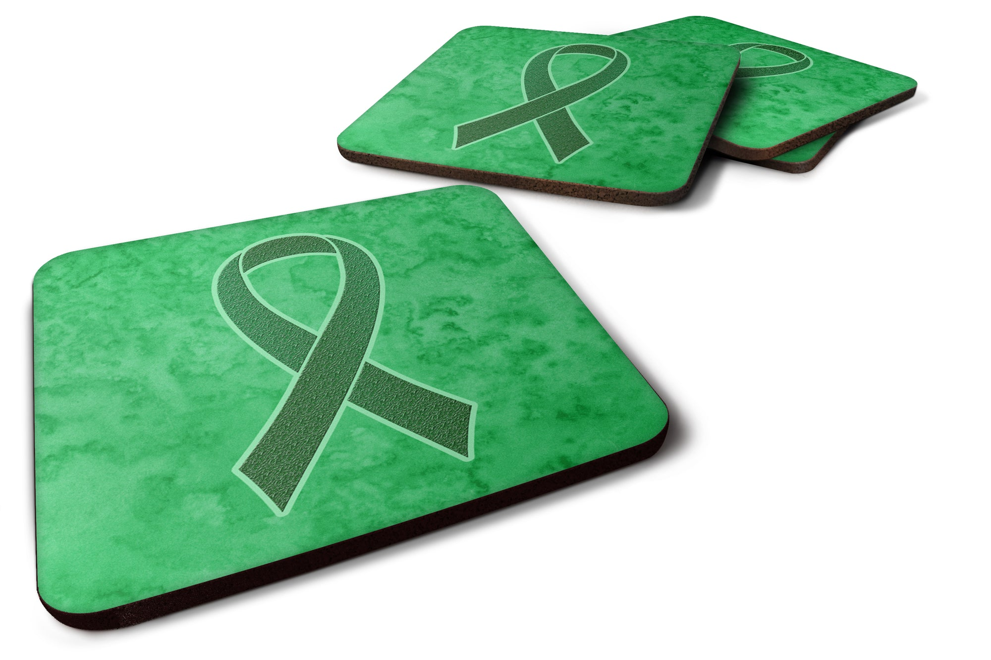 Buy this Set of 4 Kelly Green Ribbon for Kidney Cancer Awareness Foam Coasters AN1220FC