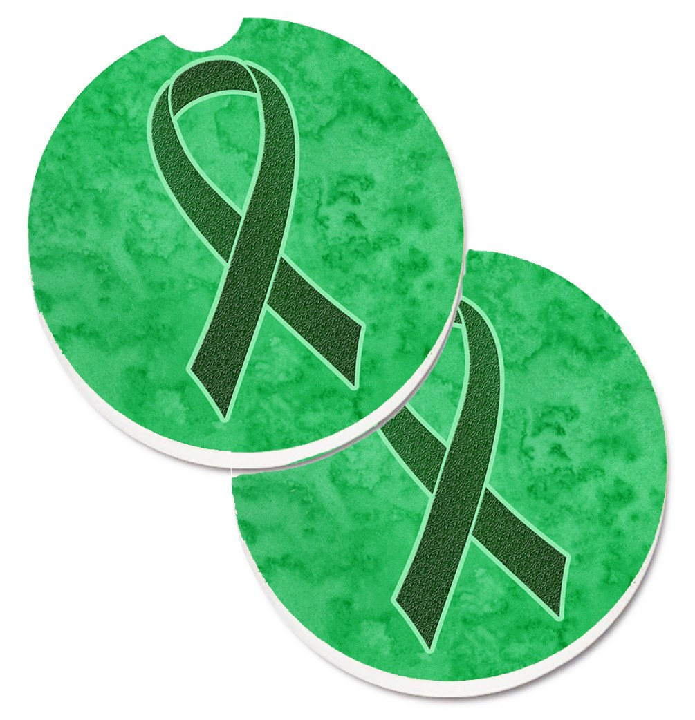 Emerald Green Ribbon for Liver Cancer Awareness Set of 2 Cup Holder Car Coasters AN1221CARC by Caroline's Treasures
