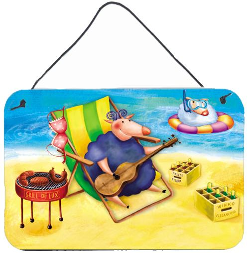 Pig Sunbathing on the Beach Wall or Door Hanging Prints APH0079DS812 by Caroline's Treasures