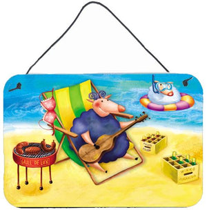 Buy this Pig Sunbathing on the Beach Wall or Door Hanging Prints APH0079DS812
