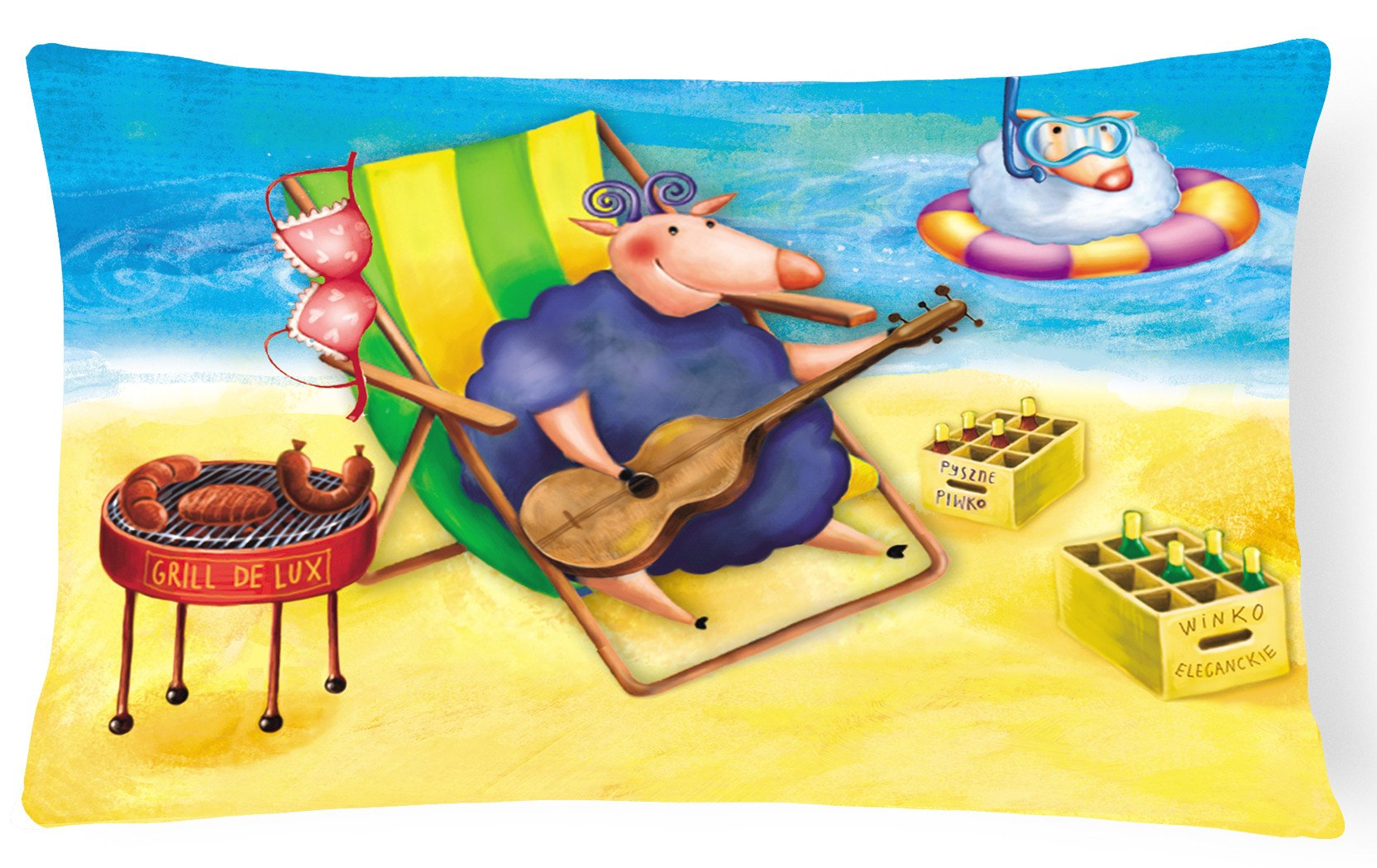 Pig Sunbathing on the Beach Fabric Decorative Pillow APH0079PW1216 by Caroline's Treasures