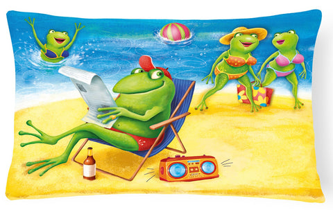 Buy this Frogs on the Beach Fabric Decorative Pillow APH0080PW1216