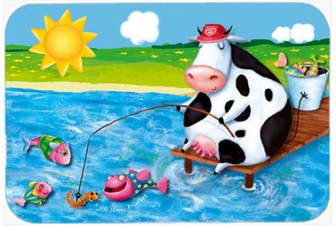 Buy this Cow Fishing off of a Pier Glass Cutting Board Large APH0085LCB