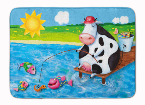 Buy this Cow Fishing off of a Pier Machine Washable Memory Foam Mat APH0085RUG
