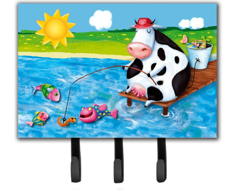 Buy this Cow Fishing off of a Pier Leash or Key Holder APH0085TH68