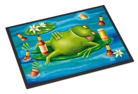 Buy this Frog Drinking Beer Indoor or Outdoor Mat 18x27 APH0093MAT