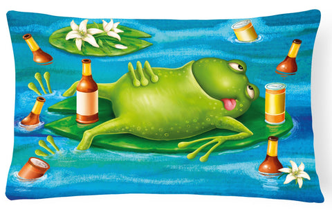 Buy this Frog Drinking Beer Fabric Decorative Pillow APH0093PW1216