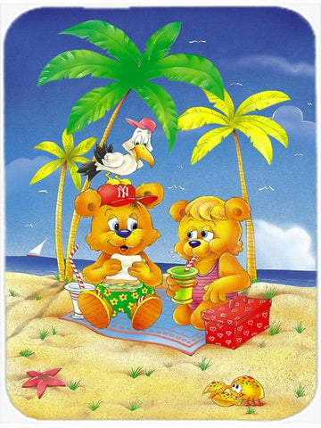 Buy this Teddy Bears Picnic on the Beach Glass Cutting Board Large APH0239LCB