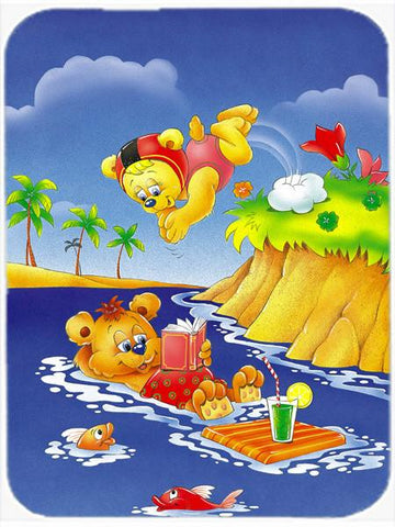 Buy this Teddy Bears Swimming and Diving Glass Cutting Board Large APH0240LCB