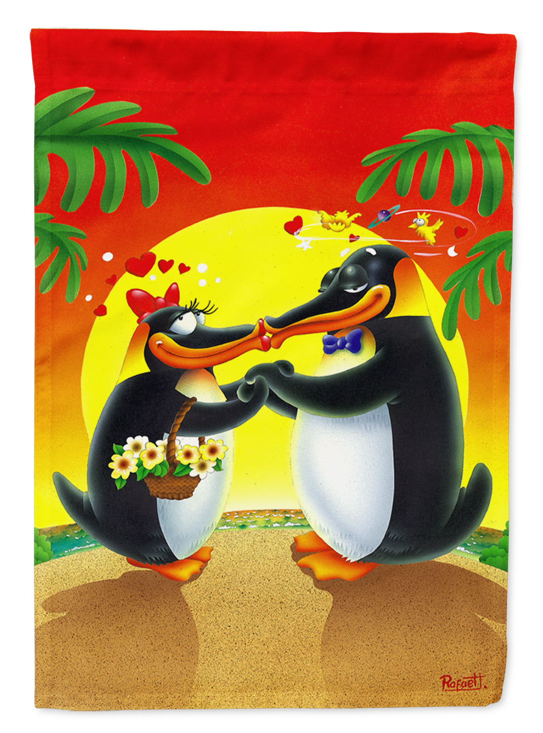Buy this In Love Valentine's Day Penguins Flag Canvas House Size APH0245CHF