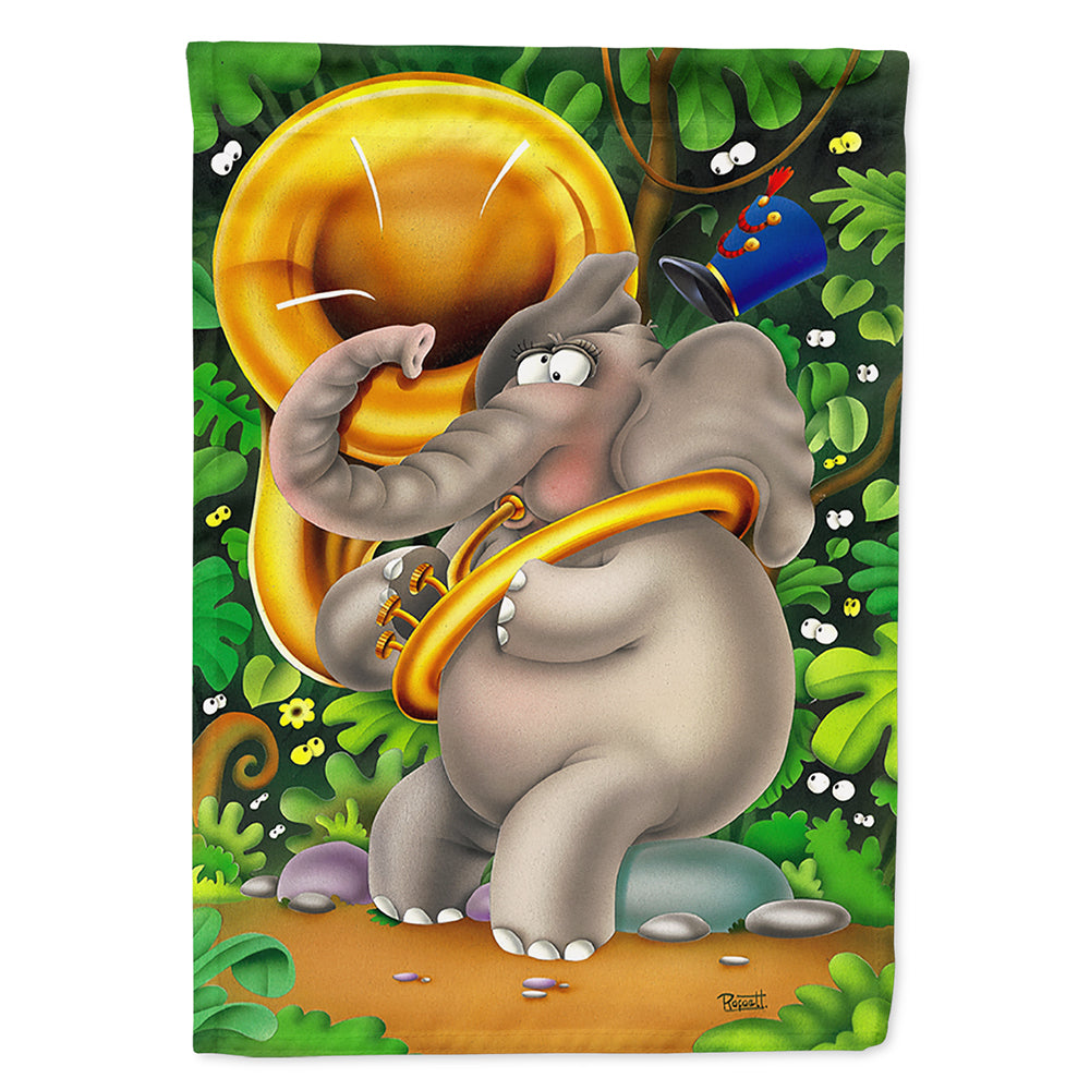 Buy this Elephant playing the Tuba Flag Canvas House Size APH0248CHF