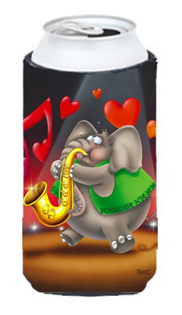 Elephant playing the Saxaphone Tall Boy Beverage Insulator Hugger APH0250TBC by Caroline's Treasures