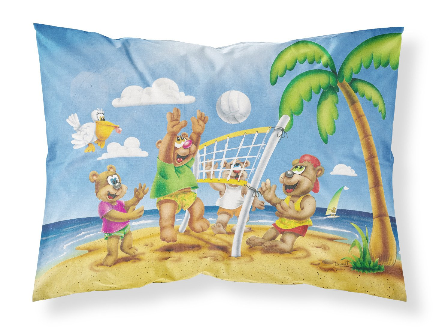 Bears Playing Volleyball Fabric Standard Pillowcase APH0373PILLOWCASE by Caroline's Treasures