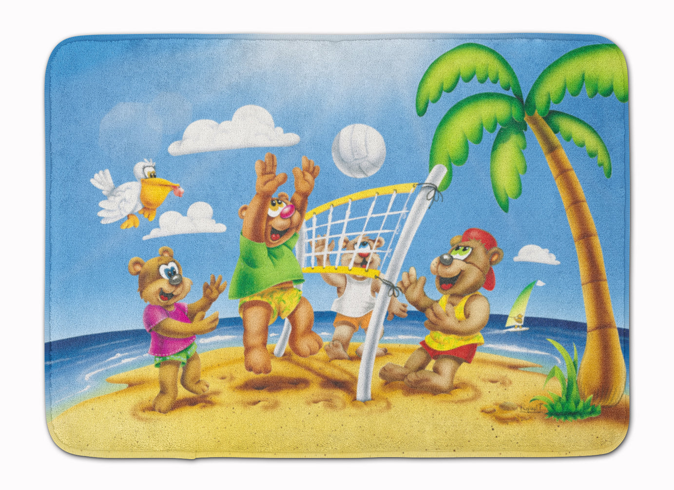 Buy this Bears Playing Volleyball Machine Washable Memory Foam Mat APH0373RUG
