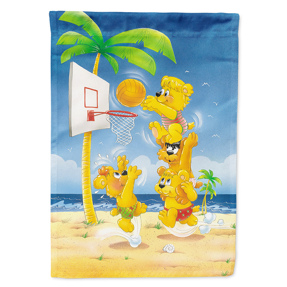 Bears playing Basketball Flag Canvas House Size by Caroline's Treasures