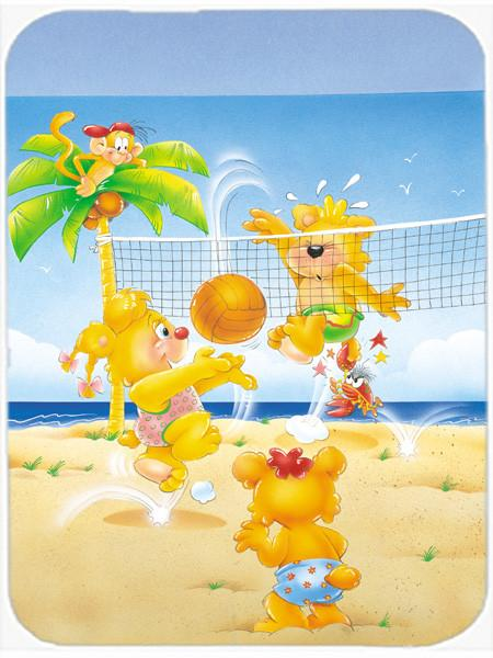Bears playing Volleyball Glass Cutting Board Large APH0389LCB - the-store.com